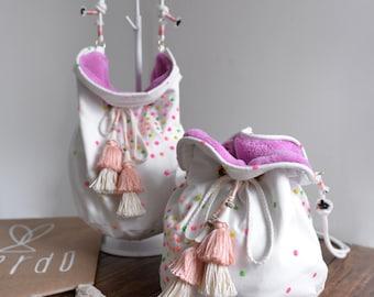 Blooming Season bucket bag, white bohemian style light coral tassel Fury bucket bag. Ready to ship