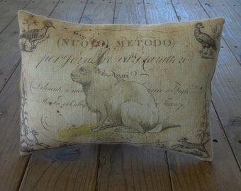 French Rabbit Burlap Pillow,  Shabby Chic2, Farmhouse Pillows, INSERT INCLUDED