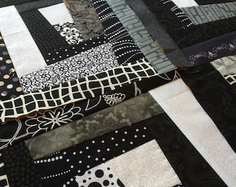 Quilt Block - 11 inch square - crazy Black / White / Grey / Wonky Log Cabin / Modern / scrappy / floral / stripes / versatile / polka dot