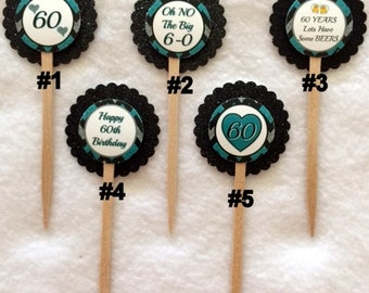 Set Of 12 Customized 60th Birthday Party Inspired  Cupcake Toppers (Your Choice Of Any 12, Can Be Mixed)