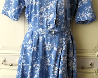 1940s Blue and White Print Cotton Day Dress
