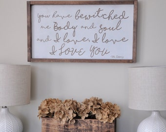 Pride and Prejudice Wood Sign. Gallery wall. Rustic wood sign. Love saying Wedding gift. Master bedroom decor. Gift for her. farmhouse decor
