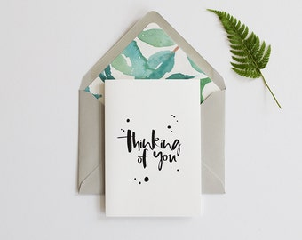 Modern Thinking of You Card - Pretty Envelope Liner - Sympathy Card - Modern Sympathy Card - Sorry Card