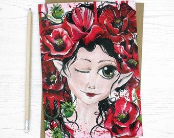 Flower fairy card, sister card, goth fairy, goth card, dark art card, manga fairy card, emo fairy card, fairy birthday card, kawaii fairy