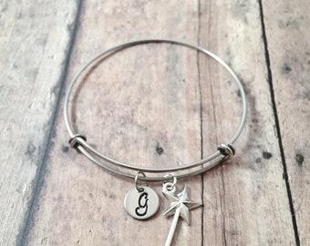 Magic wand initial bangle - magic wand jewelry, princess jewelry, fairy tale jewelry, silver magic wand pendant, princess bracelet