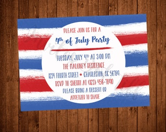 Watercolor 4th of July Party Invitation (Printable, Stripes, Red, White, and Blue)
