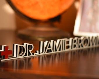 Doctor Desk Name Plate - Teacher Name Plate - Personalized Name Tag - Teacher Desk Name Plate  Unique Desk Plate Coworker Gift Dr. Name Tag