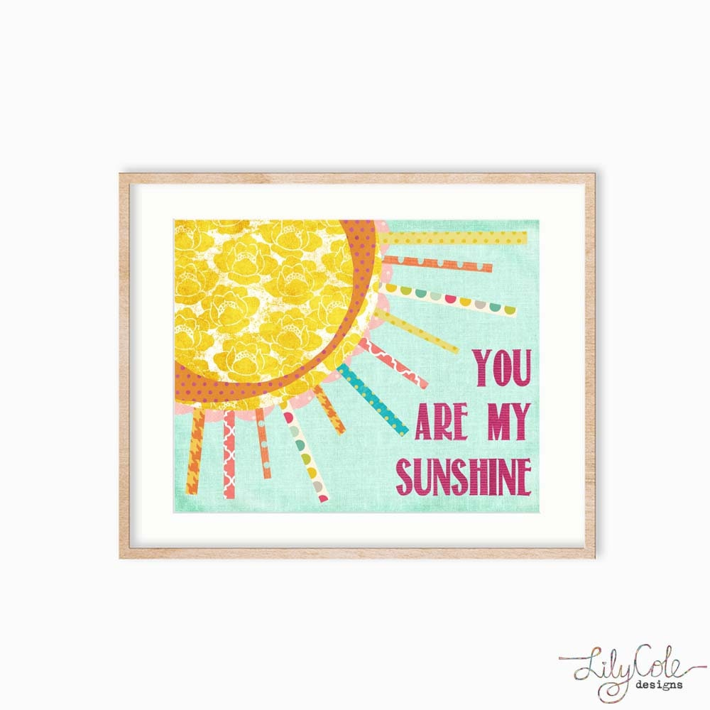 BIG ART You are My Sunshine Wall Art Print Baby Girl Nursery