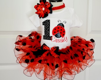 first Birthday Outfit girl,Ladybug Birthday Outfit red black polka dot,Personalized Girls 1st Birthday tutu,ladybug tutu,cake smash outfit