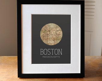 Boston Print, Boston Map, Boston Poster, Map of Boston, Massachusetts, Boston Art, Map Art, Map Design, Custom Map