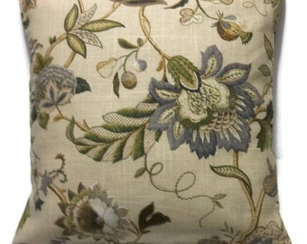 Decorative Pillow Cover Floral Design Steel Gray Camel Olive Green