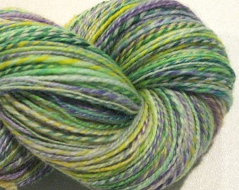 Handspun yarn, Johnny Jump Up 460 yards, DK weight, yellow green purple, 2 ply,  Superwash BFL wool, Nylon, sock yarn, knitting supplies