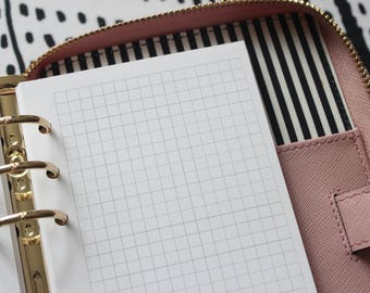 Printed Square Grid Personal Size Planner Inserts