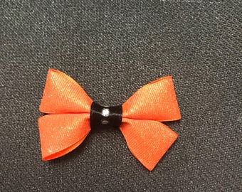 Orange sparkle baby bow