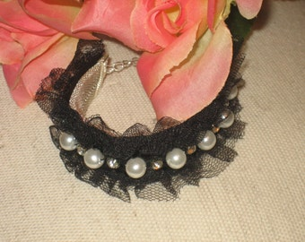 Black Lace Bracelet With Pearl Accents, , Silver Mesh, Black Strappy Style, Gothic, Boho Pattern, Adjustable Extender Chain