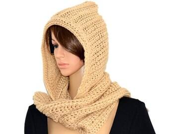 Hooded Long scarf, Hooded scarf, Hood scarf, Scarf with hood, scarf hoodie,  scarf, women hood scarf, unisex hood scarf, long scarfs , wraps
