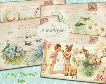 TAGS Spring Moments - Shabby chic Spring Tags - Digital Collage Tags - Vintage Digital Images - Scrapbooking Tags - Old Digital Images - Tag