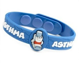 """Medical ID """"Asthma"""" Kids Bracelet Fits 4 1/2 - 6 inches"""