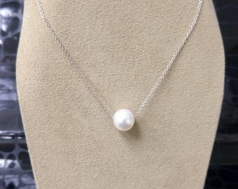 ONE white pearl necklace, 14K 8.5mm White Pearl Necklace