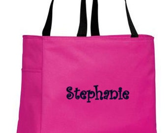 Personalized Tote Bag, Bridesmaid Bag, Monogrammed Tote for Bridesmaids, Embroidered Tote, Pink Tote,  Many Colors