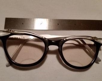 Vintage Black/Silver RHINESTONE HORN RIMMED Glasses
