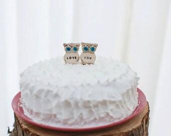 Owl Wedding cake topper Owl decor Rustic wedding Love you owl wedding topper