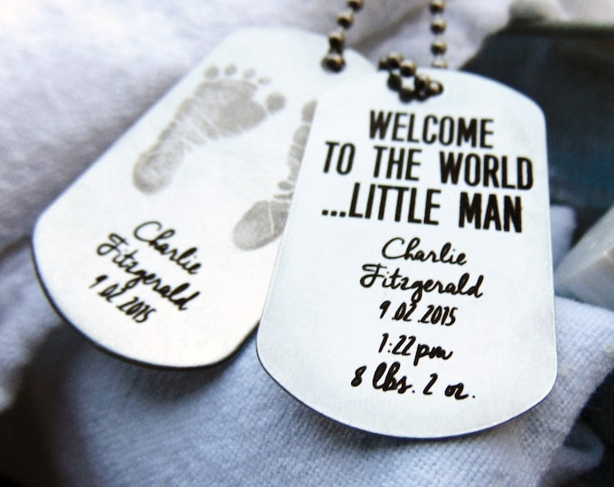 Baby Footprints Dog Tag Engraved- Stainless steel dog tag-Welcome to the world, birth announcement, baby keepsake, gift for new parents