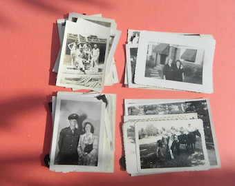 Lot Of 50 Vintage Black White Snapshots Photographs: Portraits People Land City 1930s - 1950s - #22