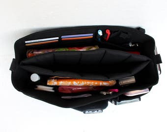 Purse Insert in Black- Bag organizer insert with Laptop compartment in Black fabric