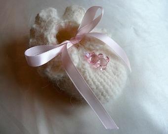 Crochet white baby Bootie