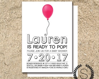 Ready To Pop Baby Shower Invitation | Baby Girl Baby Shower > 5x7 Customized Digital Download File