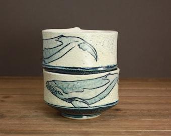 Watercolor Whale Bowl| Ocean Minded Art| Beach Decor| Summer Housewares| Beach House Decor