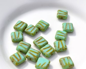 Turquoise Picasso Etched 10mm Square Czech Glass Beads   10