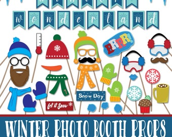 Winter Photo Booth Props and Decorations - Christmas Printable Props - Over 40 Images in Jpg, Pdf Formats -Digital Download