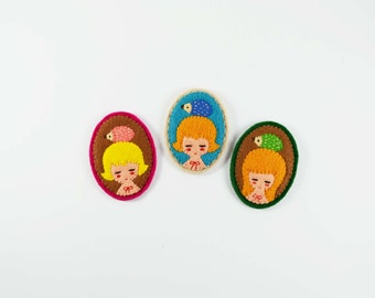 55% SALE Spindle Sisters and Their Candy Hedgehogs / Fairy Tale Girl Felt Brooch / Imaginary Girl Portrait Felt Pin / Miniature Hedgehog Pin