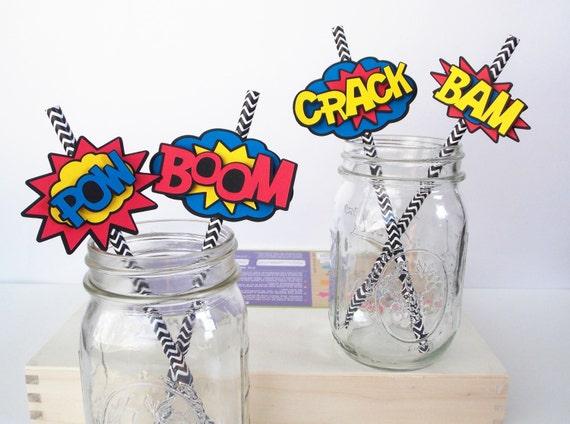 Superhero Straw Flags, Superhero Straw Slide, Superhero Sticker Water  Bottle Labels, Superhero Baby Shower Decoration, Superhero Party 8 Ct From  ...
