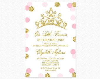 Pink and Gold Princess Tiara Crown Birthday Party Invitation, Gold Glitter, Polka Dot, 1st Birthday, Printable or Printed