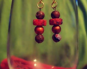 BoHo Dangle Earrings Gold Brass Brown