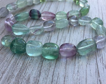 Fluorite Oval Nugget Beads, Fluorite Beads, Fluorite Ovals, 11 to 13 mm approx. 16 inch strand