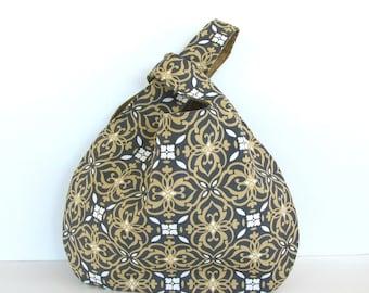 Japanese Knot Bag, Handbag, Knitting Crochet Bag, Knitters Gift - gray gold Tote Knitting Bag