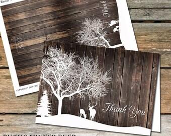 Rustic Deer Thank You Card, Printable Greeting Card, Wood Thank You, Woodland Thank You Card, DIY Wedding Thank You Card, Rustic Thank You