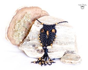 OWLS pendant macrame -with Tiger Eye - Custom design - Style Hippie, Boho Chic, Bohemian, Gypsy
