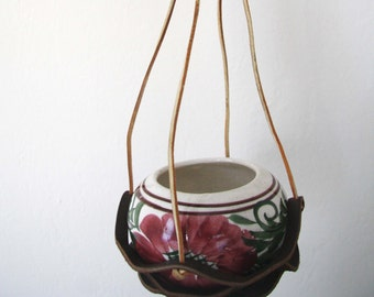 Vintage leather Hanging with Ceramic Planter – Hanging planter – hanging pot – ceramic small pot -  home decor