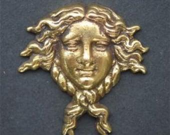 Small Art Nouveau lady head solid brass furniture mount ormolu H6