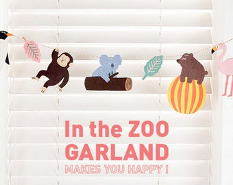 In the Zoo Garland Banner Home Decoration Colorful and Playful Paper Banner