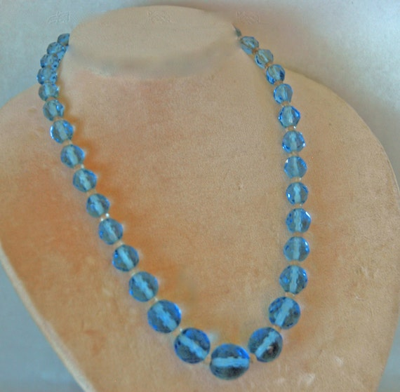 "Reduced: Vintage 1930s Graduated BLUE AURORA BOREALIS Crystals Separated by 3mm Clear Faceted Spacers Necklace 15"" L  V G Condition"