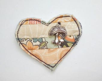 Fabric brooch, Patchwork brooch, heart shaped brooch, quilted brooch, gift for mum, the Boho Button