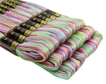 25 ancre multicolore #1335 croix point coton broderie fil de soie/écheveau