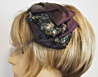 Mid Century Headband Hat Facinator Sequin Bow Plum Eggplant Veiled Hat