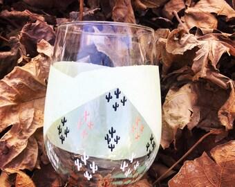 Unique, hand painted, stemless wine glass, mini, painted saguaro, cactus wine glass